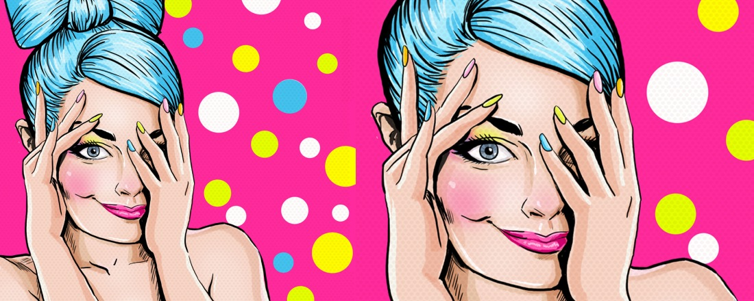 Cartoon: Young adult with blue hair, pink lips and colorful nails, smiles while covering half of her face.