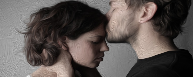 Poem Fear, My Love. Photo of a couple. He is kissing her forehead, his eyes are closed. Her eyes are closed as well.