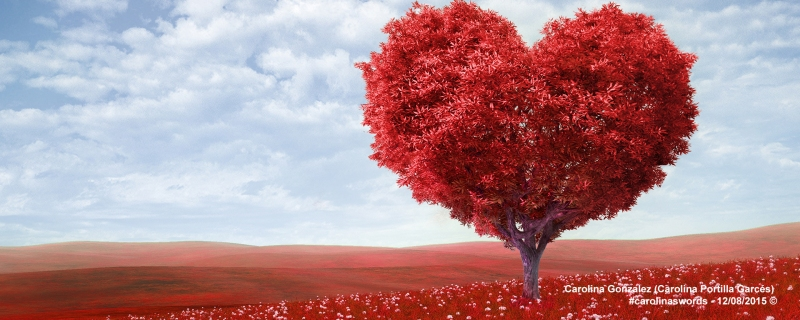 Red tree shaped like a heart. The blue ski is behind, and the red grass looks like an endless field.