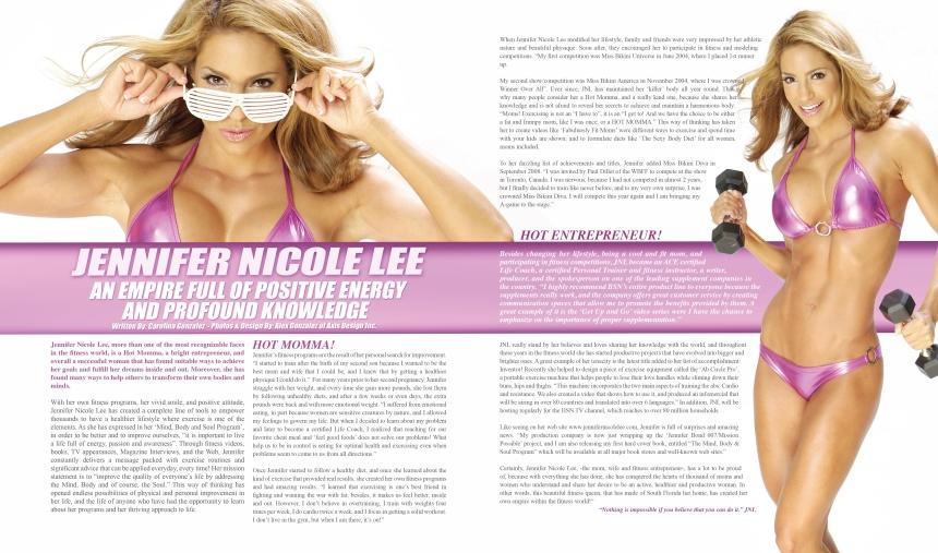 Jennifer Nicole Lee Fitness Empire By Writer Carolina Gonzalez, CarolinasWords. Photography by Alex Gonzalez