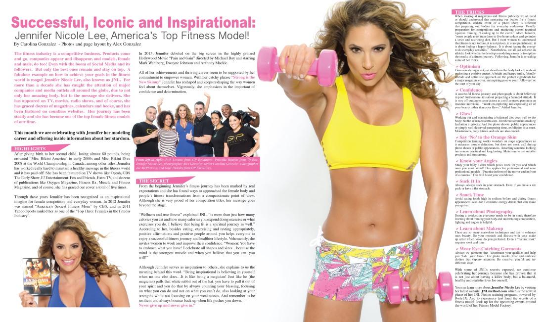 Jennifer Nicole Lee, America's Top Fitness Model. Article by writer Carolina Gonzalez, CarolinasWords (Carolina Portilla Garces)